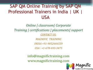 SAP QM Online Training by SAP QM Professional Trainers in In