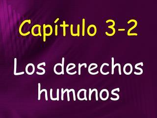 Capítulo 3-2 Los derechos humanos
