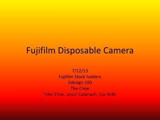 Fujifilm  D isposable Camera