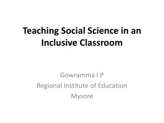 Teaching  Social Science  in an Inclusive Classroom
