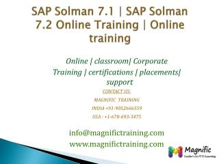 SAP Solman 7.1  SAP Solman 7.2 Online Training  Online train