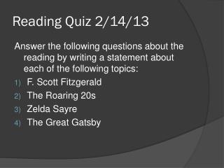 Reading Quiz 2/14/13