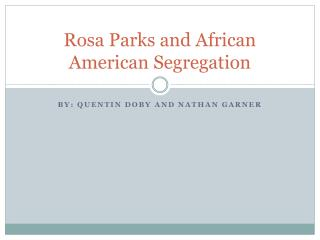 Rosa Parks and African American Segregation