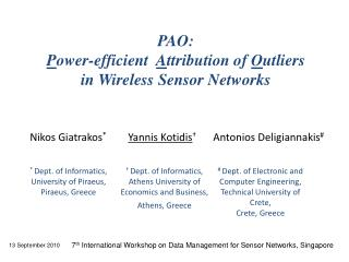 PAO:  P ower-efficient   A ttribution of  O utliers  in Wireless Sensor Networks