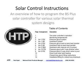 Solar Control Instructions
