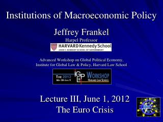 Lecture  III, June 1,  2012 The Euro Crisis