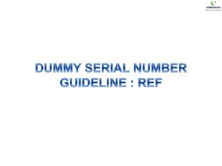 DUMMY SERIAL NUMBER GUIDELINE : REF