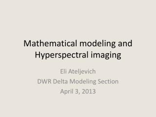 Mathematical modeling and  Hyperspectral  imaging