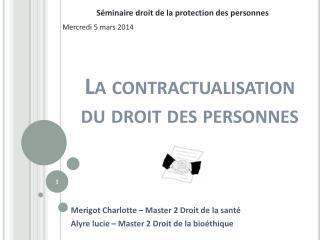 La contractualisation du droit des personnes