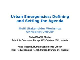 Urban Emergencies: Defining and Setting the Agenda Multi Stakeholder Workshop UNHabitat UNICEF