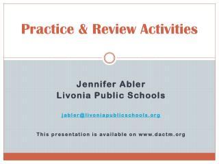 Practice & Review Activities