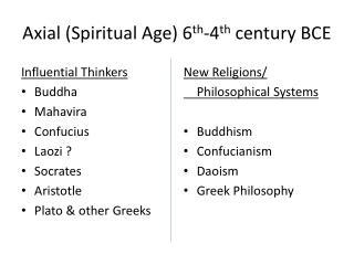 Axial (Spiritual Age) 6 th -4 th  century BCE