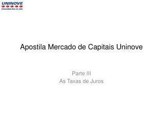 Apostila Mercado de Capitais  Uninove