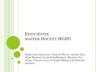 Efficiëntie  master  Docent  HGZO