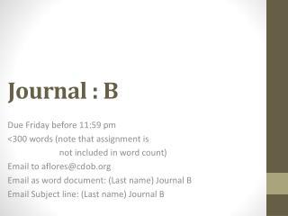 Journal :  B