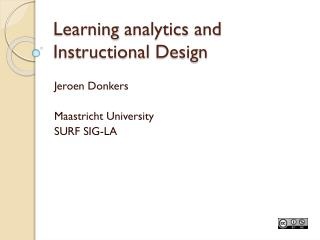 Learning  analytics and Instructional  Design