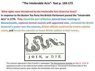 """ The Intolerable Acts""- Text p. 169-172"