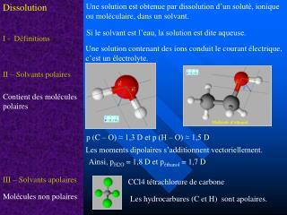 Une solution est obtenue par dissolution d'un soluté, ionique ou moléculaire, dans un solvant.