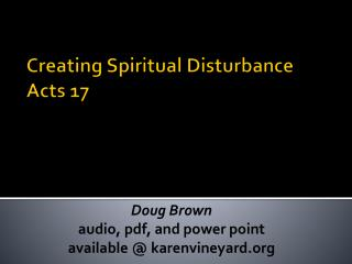 Creating Spiritual Disturbance Acts 17
