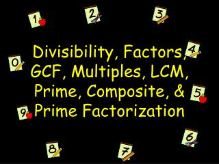Divisibility, Factors, GCF, Multiples, LCM, Prime, Composite, & Prime Factorization