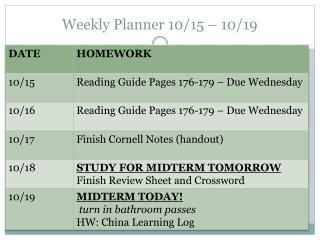 Weekly Planner 10/15 – 10/19