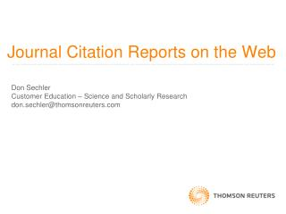 Journal Citation Reports on the Web