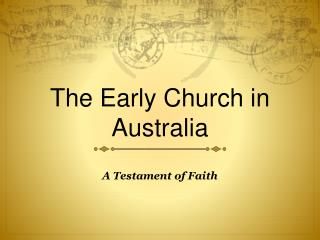 The Early Church in Australia