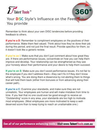Your  D I S C  Style's Influence on the Feedback You provide