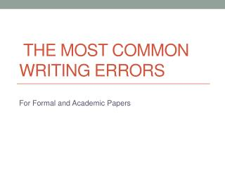 The Most Common Writing Errors