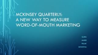 McKinsey quarterly: A New way to measure word-of-mouth marketing