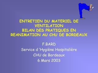 ENTRETIEN DU MATERIEL DE VENTILATION BILAN DES PRATIQUES EN ...
