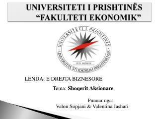 """UNIVERSITETI I PRISHTINËS              """"FAKULTETI EKONOMIK"""""""