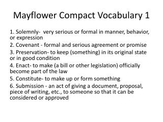 Mayflower Compact Vocabulary 1