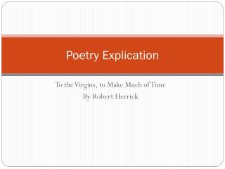 Poetry Explication