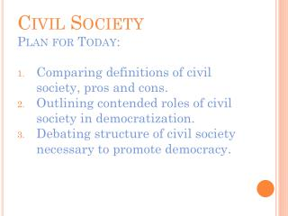 Civil Society Plan for Today: