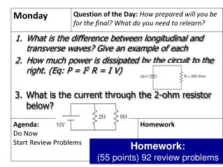 Homework : (55 points) 92 review problems