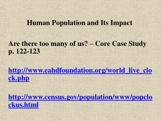 Human Population and Its Impact