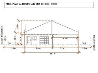 PC.3 - PLAN en COUPE coté EST   ECHELLE :  1/100