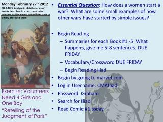 """Exercise: Volunteers   Need 4 Girls and One Boy """"Retelling of the Judgment of Paris"""""""