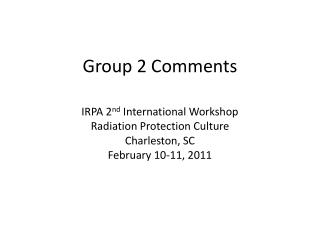 Group 2 Comments
