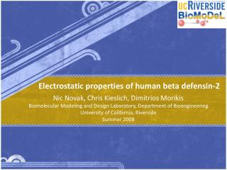 Electrostatic properties of human beta defensin-2