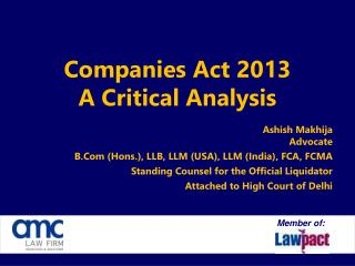 Companies Act 2013 A Critical Analysis
