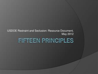 Fifteen Principles