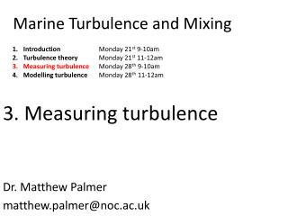 Marine Turbulence and Mixing