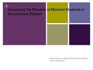 Increasing the Number of Minority Students in Accelerated Classes