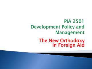 PIA 2501 Development Policy and Management