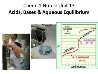 Chem. 1 Notes: Unit 13 Acids, Bases & Aqueous Equilibrium