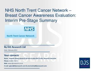 NHS North Trent Cancer Network – Breast Cancer Awareness Evaluation: Interim Pre-Stage Summary