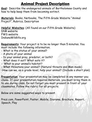 Animal Project Description