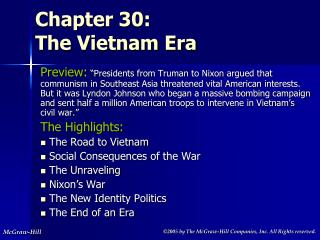 Chapter 30:  The Vietnam Era